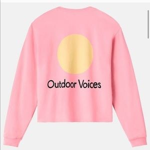 outdoor voices pink cropped crewneck